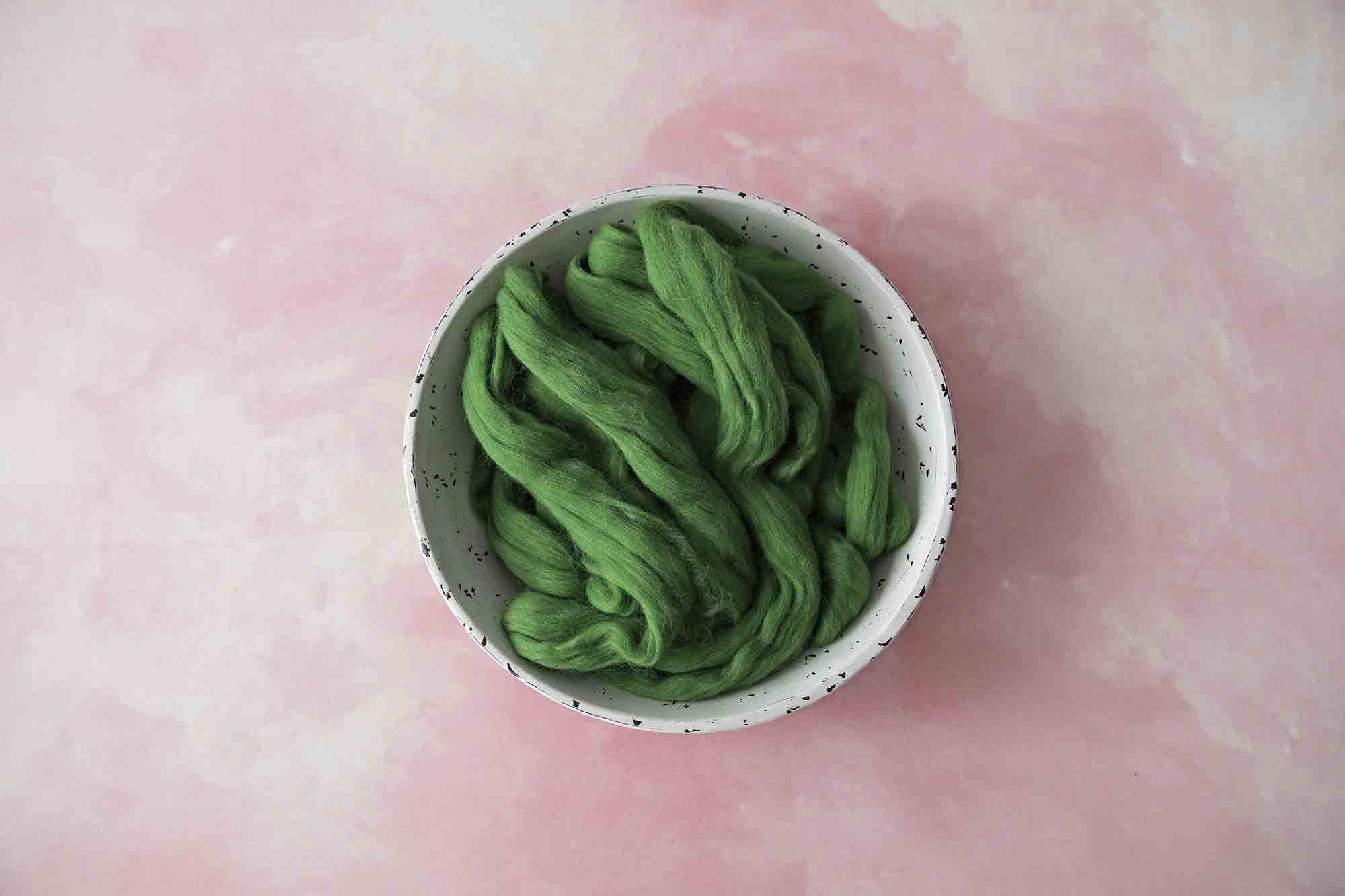 100% Merino Soft Green Roving Wool